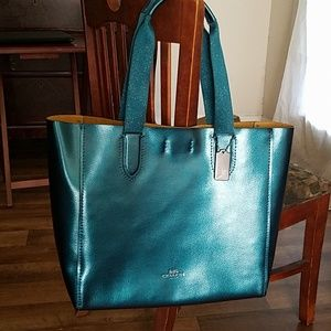 Coach Large Derby Tote Metallic Dark Teal Leather